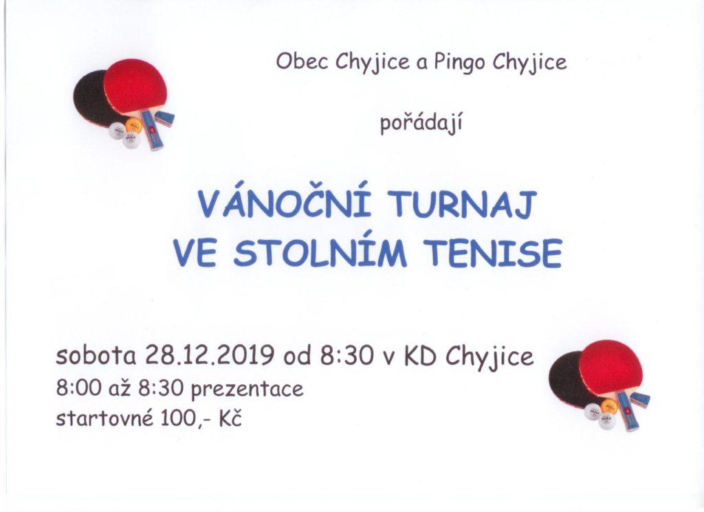 Vánoční turnaj ve stolním tenise 28.12.2019 od 8:30 v KD Chyjice